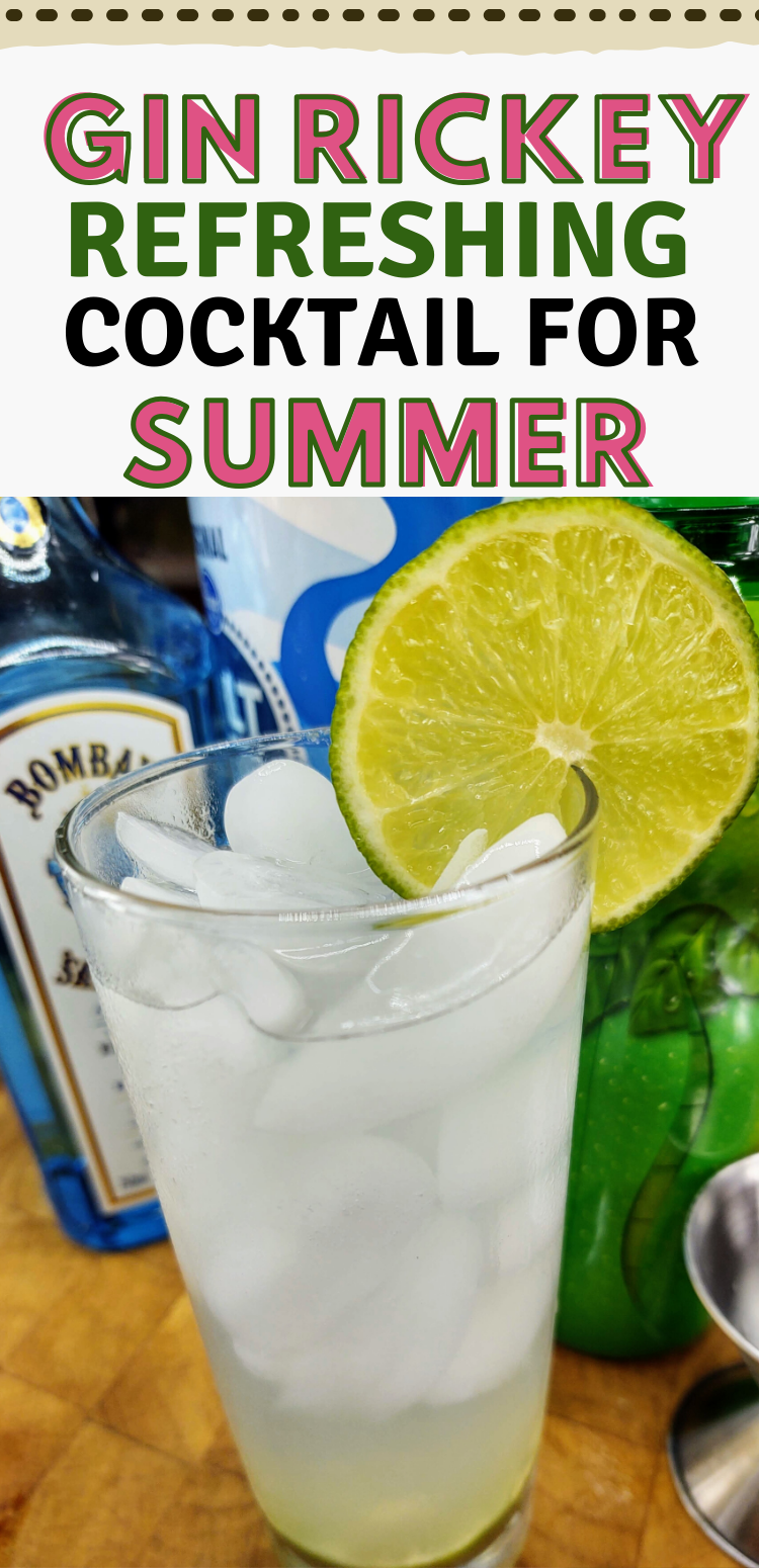 """pinterest image of gin rickey. text reads, """"gin rickey refreshing cocktail for summer"""""""