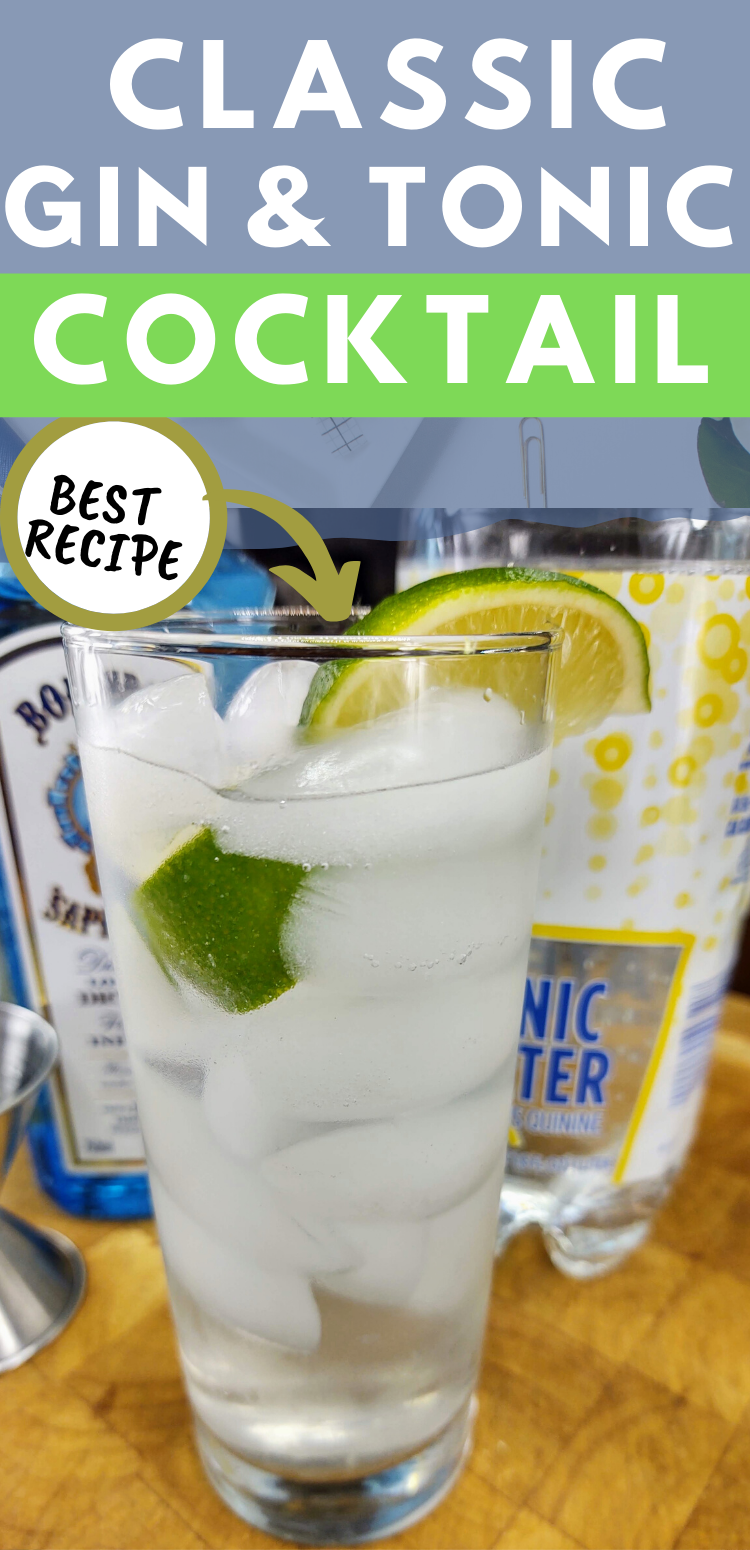 "pinterest image of gin and tonic. text reads, ""classic gin and tonic cocktail. best recipe."""