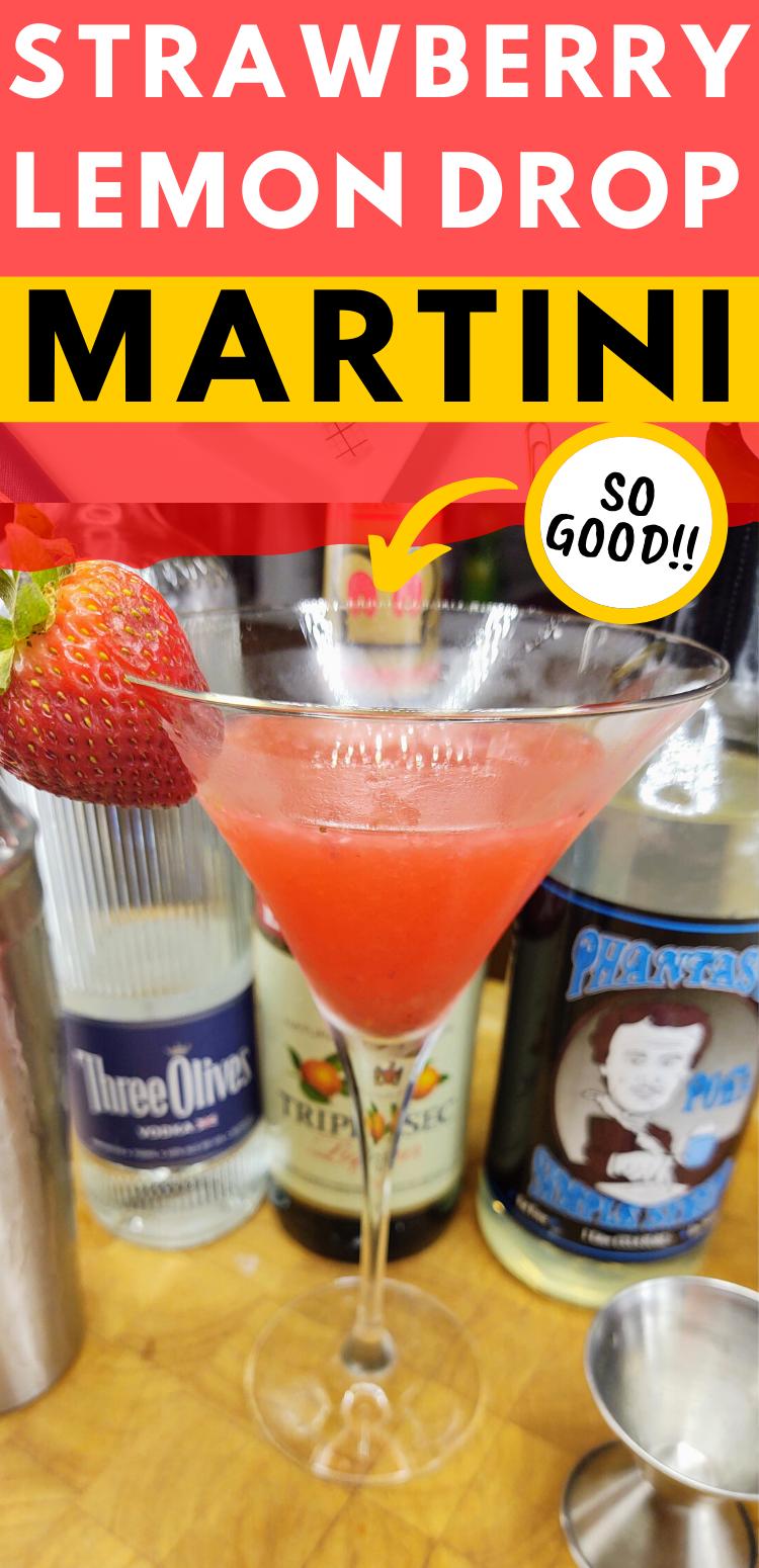 "pinterest image of strawberry lemon drop martini. text reads, ""strawberry lemon drop martini. so good!!"""