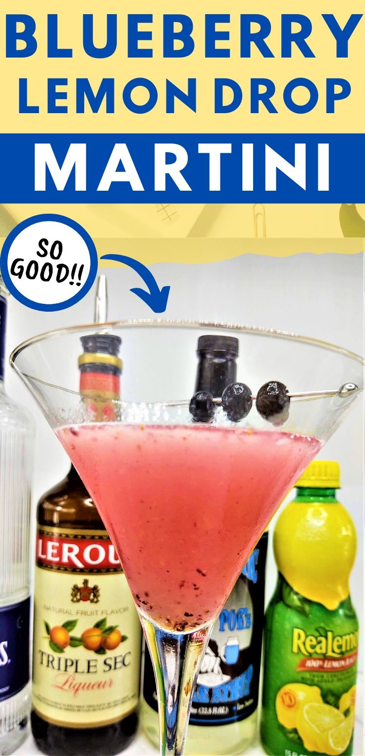 "pinterest image of drink. text reads, ""blueberry lemon drop martini. so good!!"""