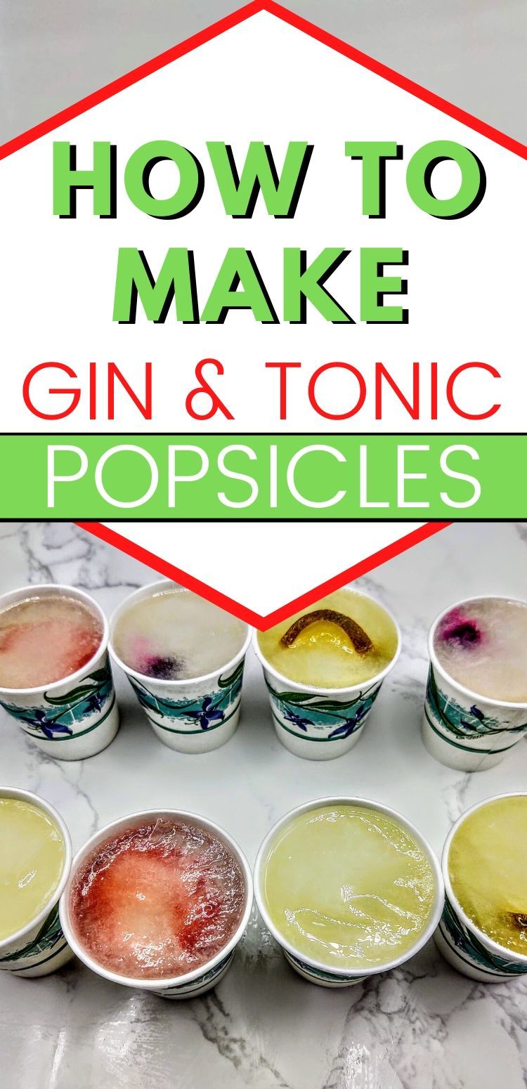 """pinterest image of 8 popsicles. text reads, """"how to make gin and tonic popsicles"""""""