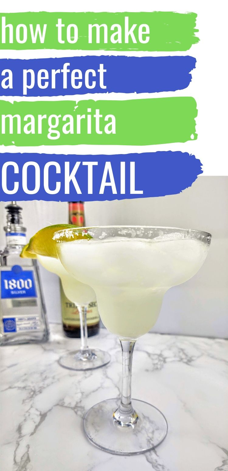 "pinterest image of classic margarita. text reads, ""how to make a perfect margarita cocktail"""