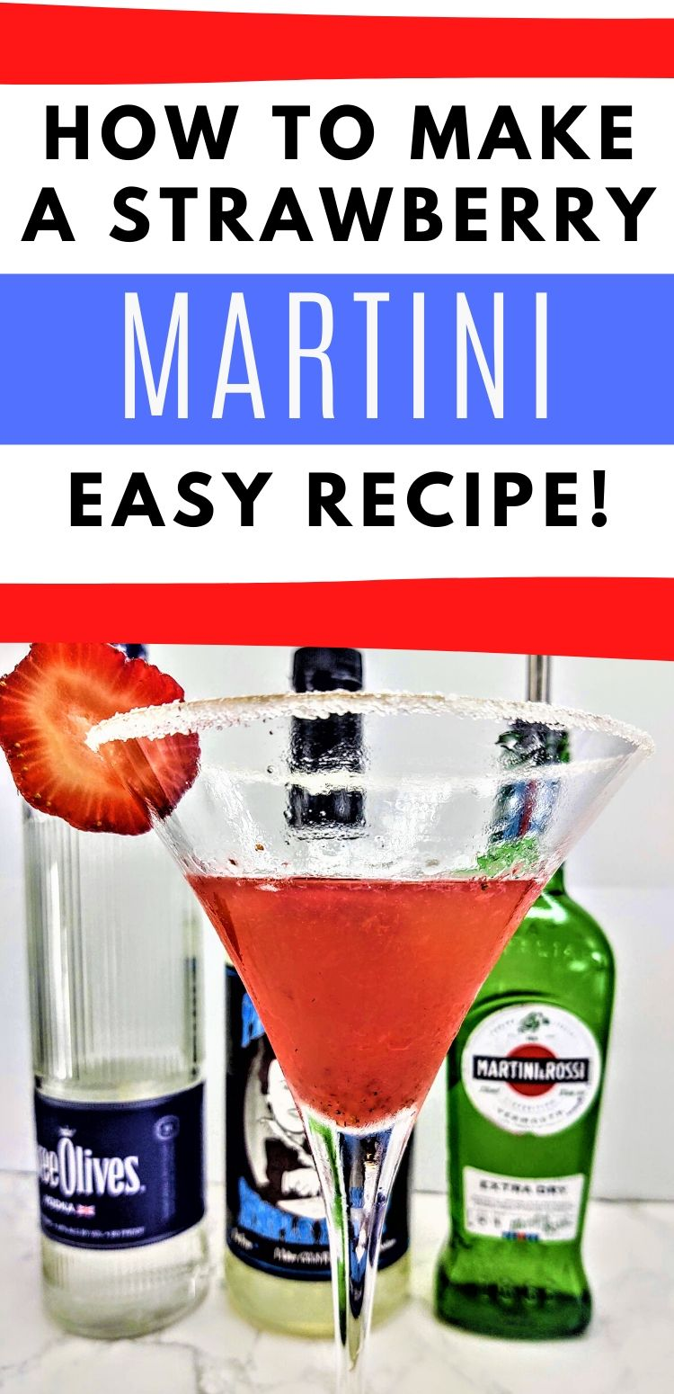 """pinterest image of drink. text reads, """"how to make a strawberry martini. easy recipe!"""""""
