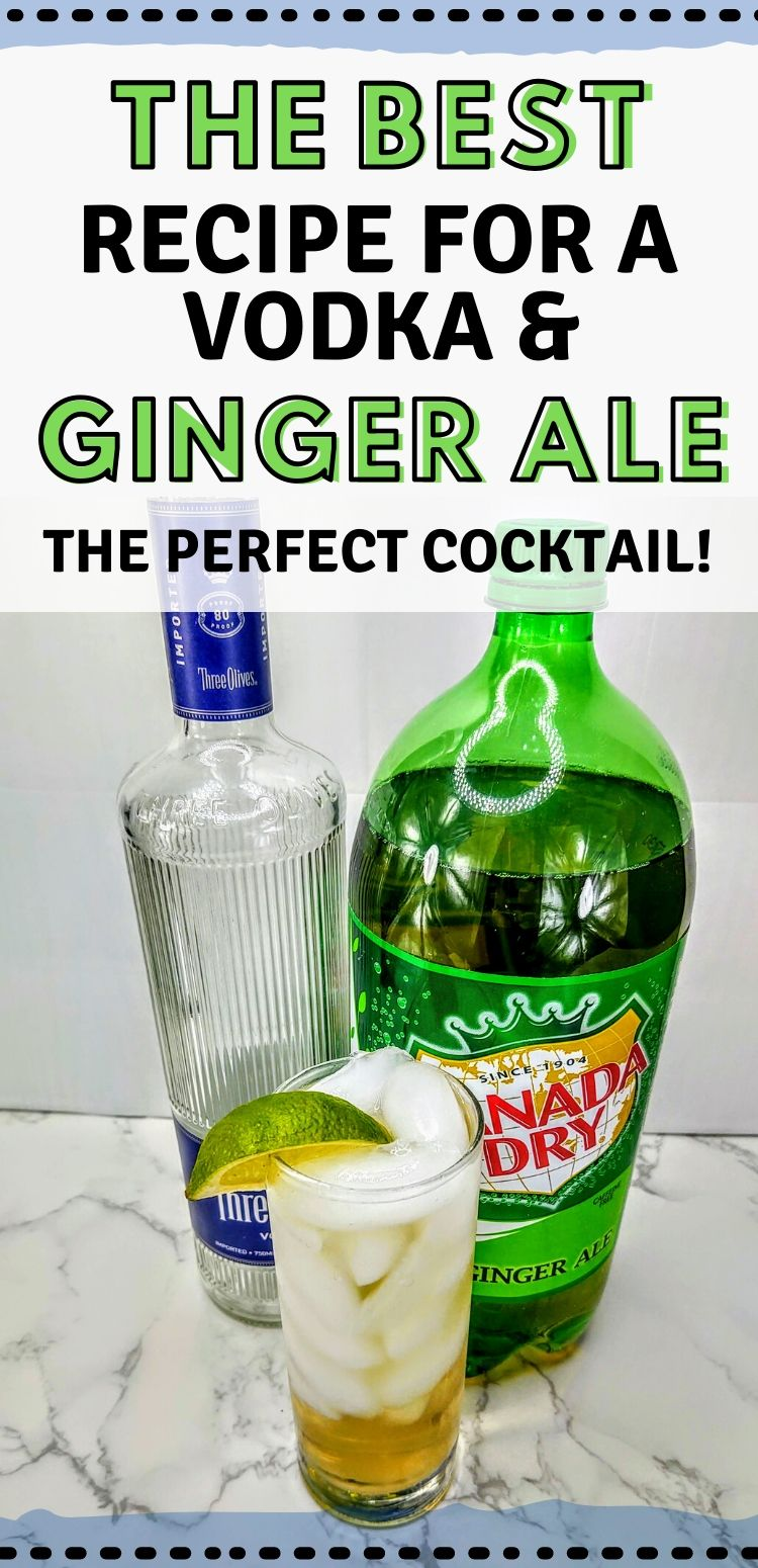 """pinterest image. text reads, """"the best recipe for a vodka ginger ale. the perfect cocktail!"""""""