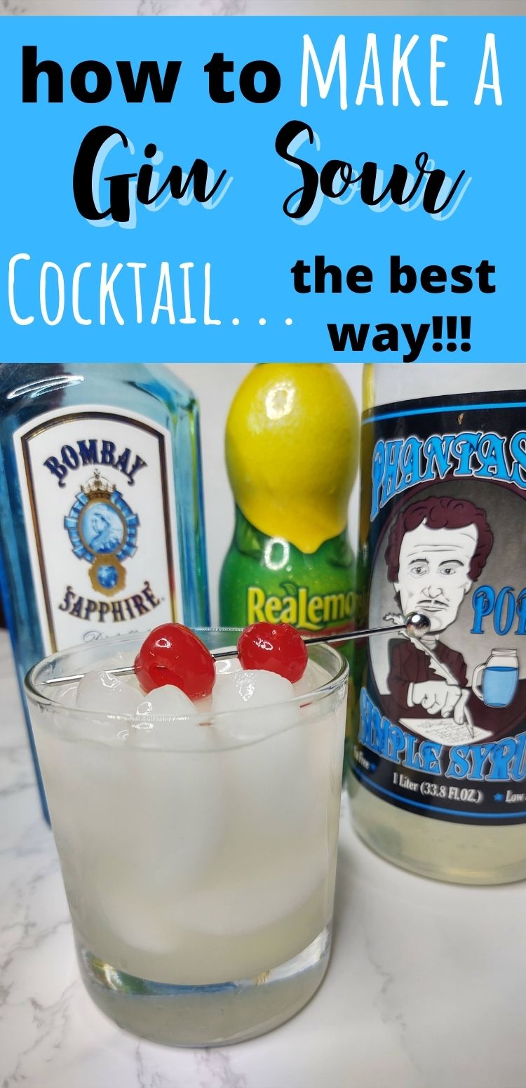 """pinterest image. Text says, """"how to make a gin sour cocktail...the best way!!!"""""""